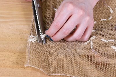 Burlap Table Runner - Cut off extra twine