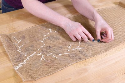 Burlap Table Runner - Glue all ends of twine