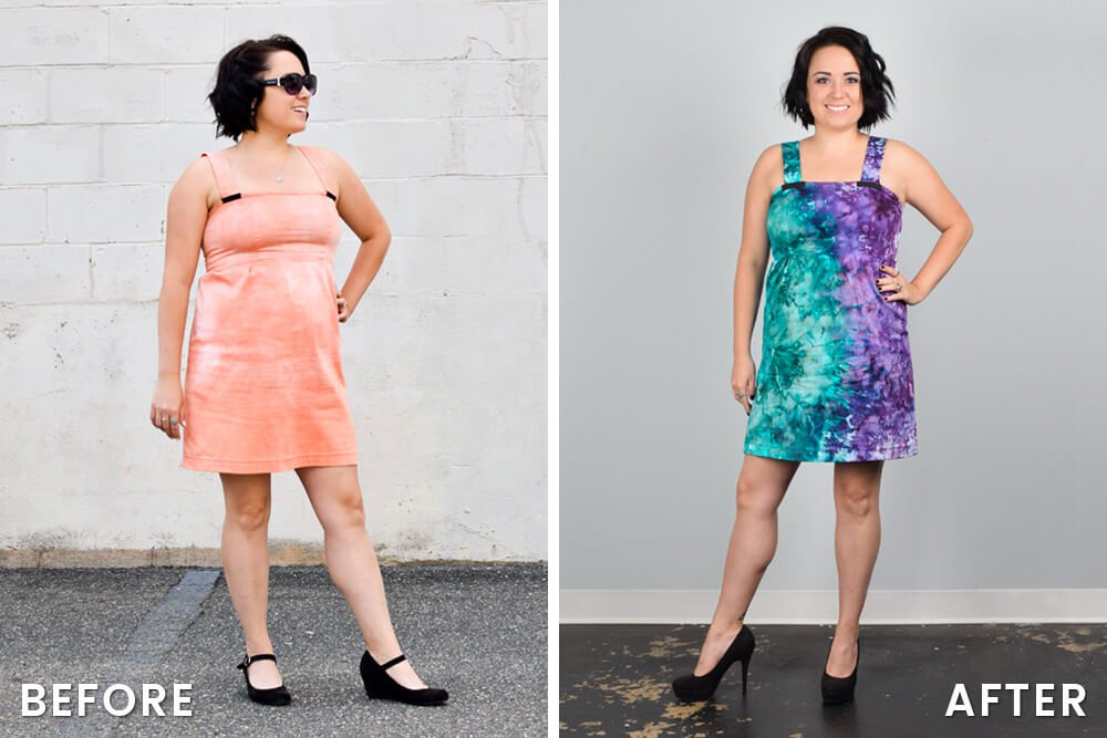 Ice Dyeing Results - Jen's dress before & after