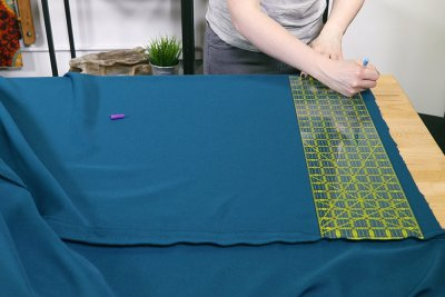 How to Make a Tablecloth - Measure width of narrow piece