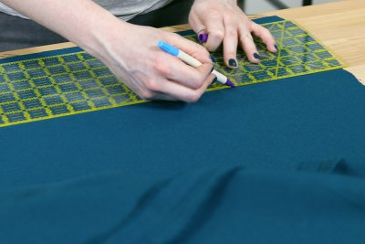 How to Make a Tablecloth - Mark width of narrow piece