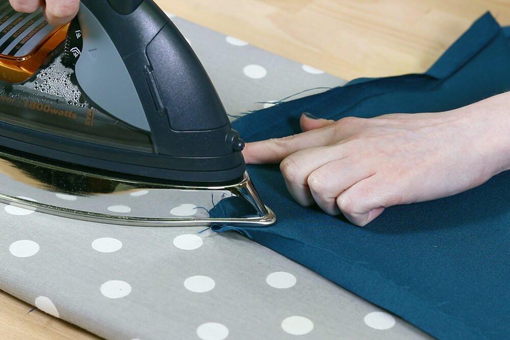 How to Make a Tablecloth - Iron diagonal edge