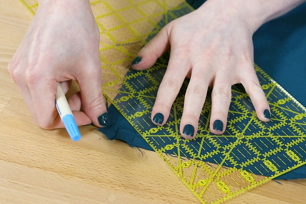 How to Make a Tablecloth - Unfold and mark line