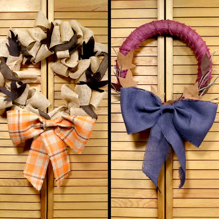 2 No Sew Burlap Wreaths