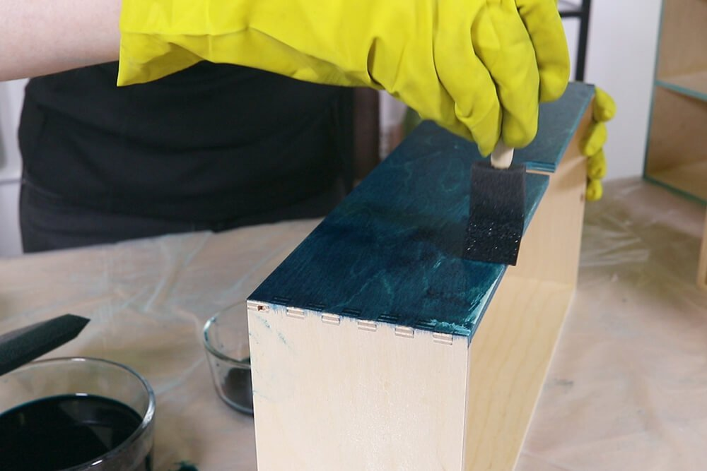 Staining Wood with Rit Dye - Apply second coat