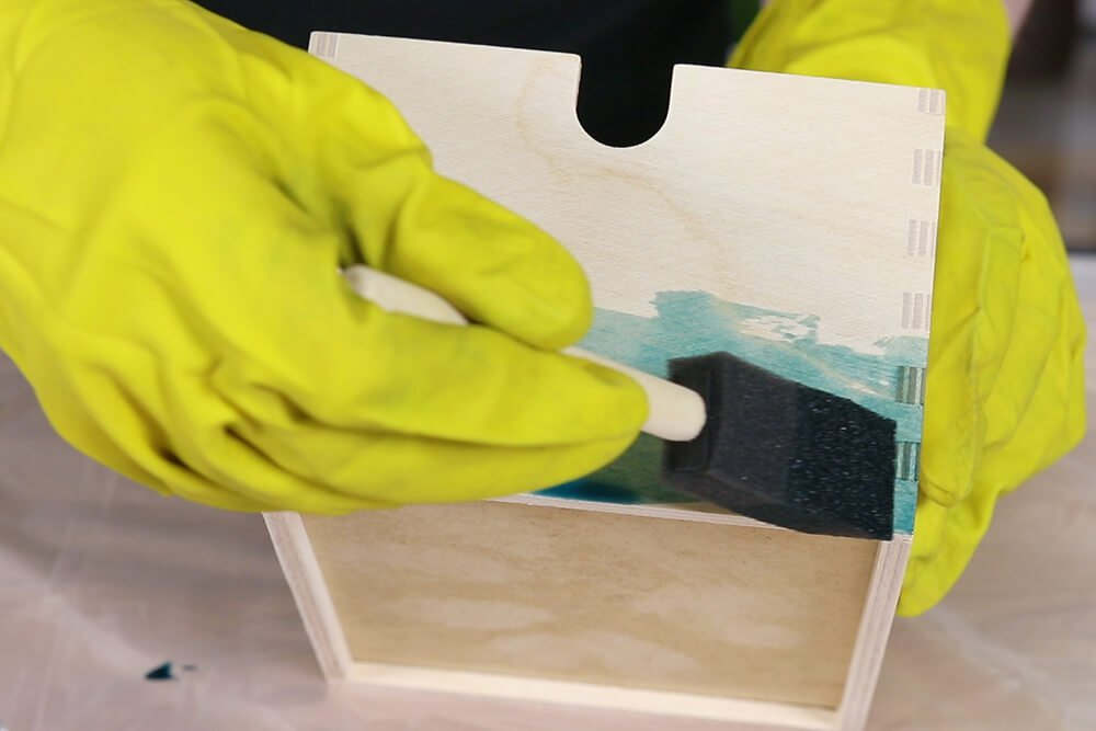 Staining Wood with Rit Dye - Apply dye with brush
