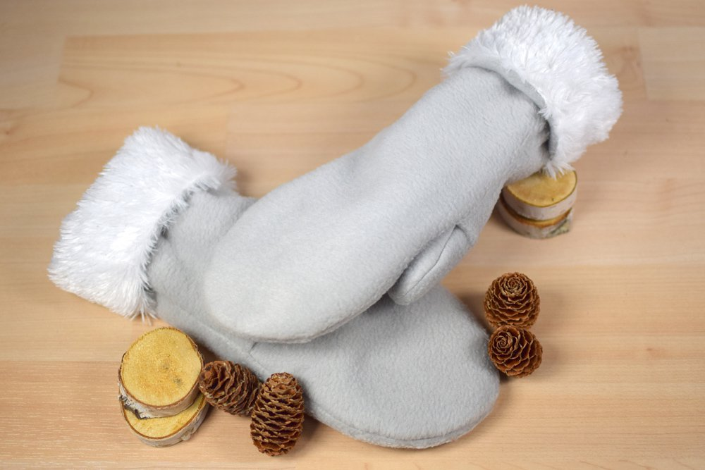 Fleece Mittens with Faux Fur 1