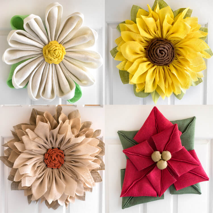 How to Make Burlap Flower Wreaths for Every Season