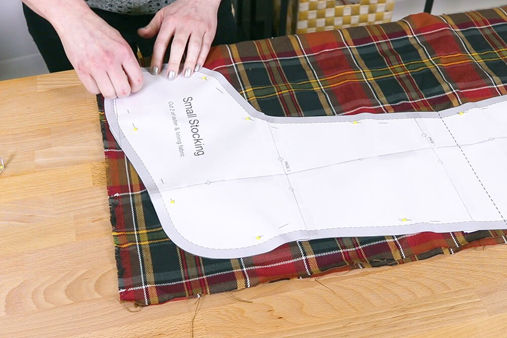 How to Make a Christmas Stocking with a Lining - Step 1
