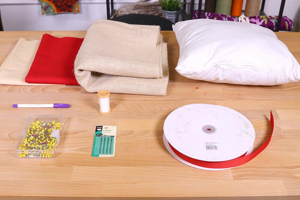 Burlap Heart Pillow Materials