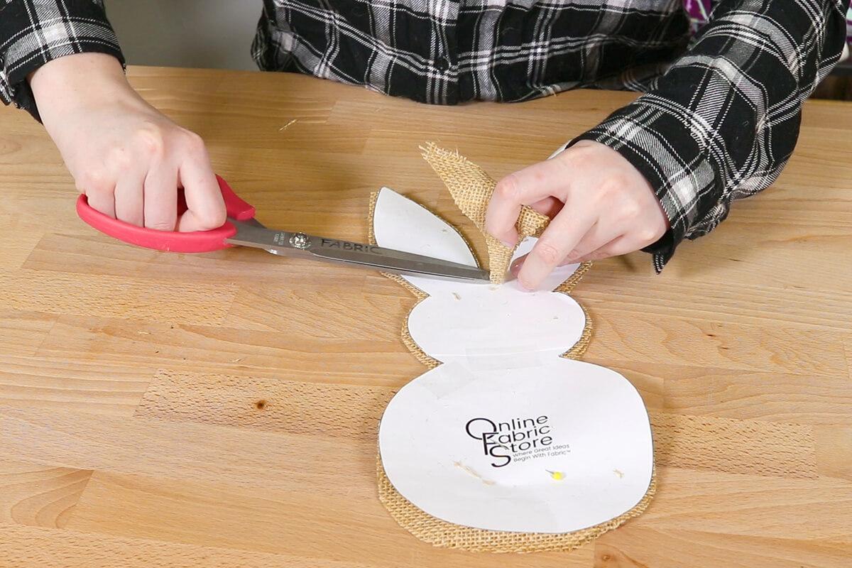 Cut out burlap bunnies