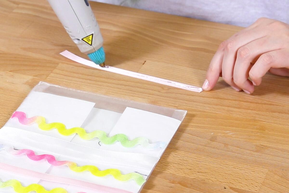 Glue on ribbon and ric rac