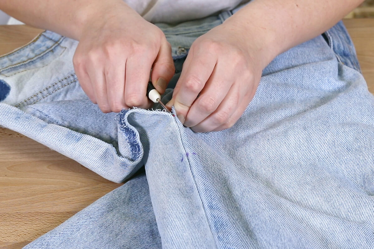 Cut the jeans the length of your panel