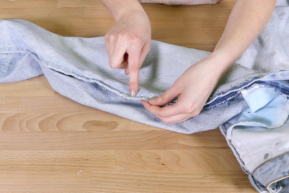 Sew where the cut meets the seam