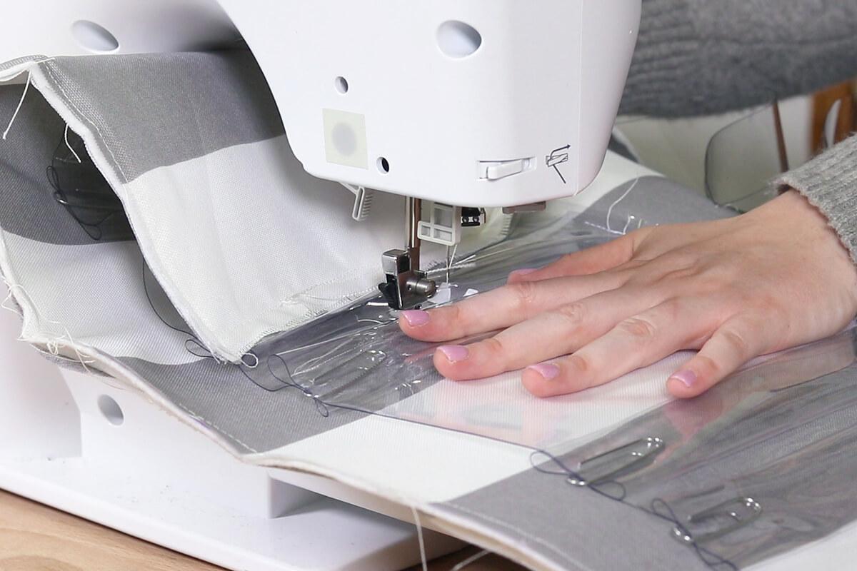 Sew in between pleats