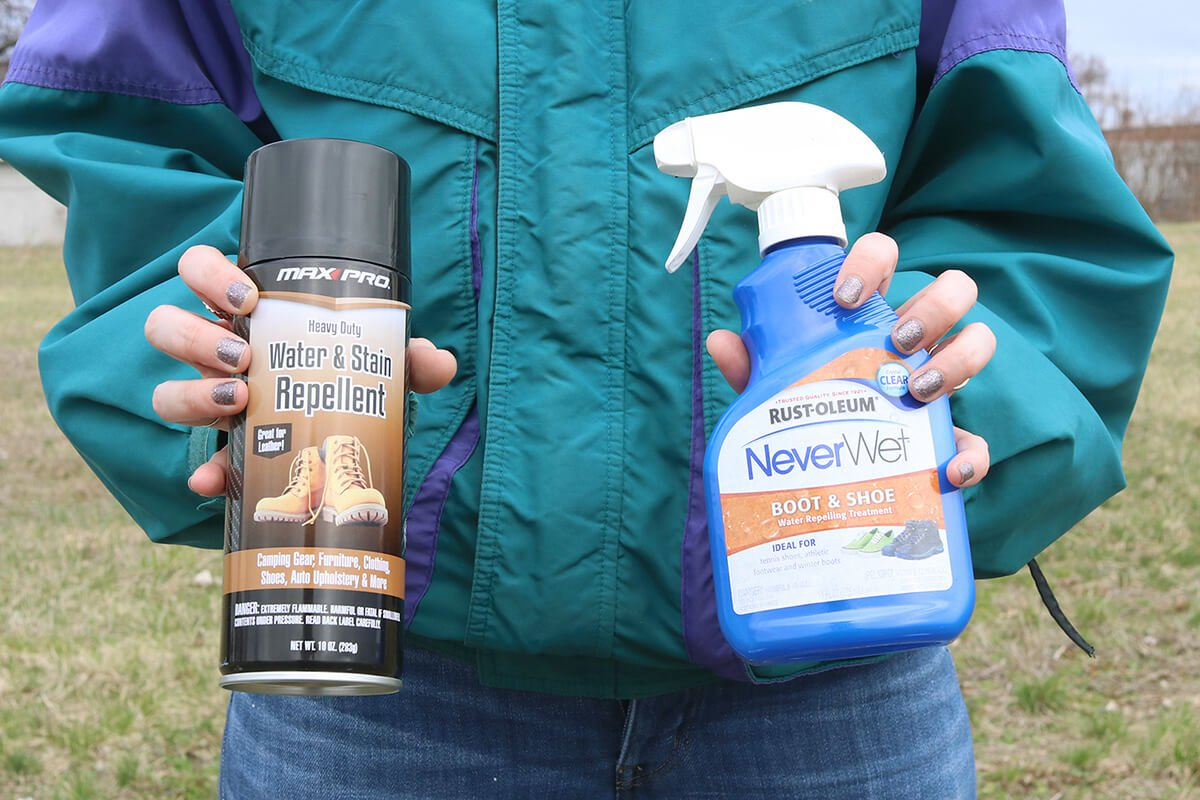 Rust-oleum Never Wet for boots and shoes and Max Pro Heavy Duty Water and Stain Repellent