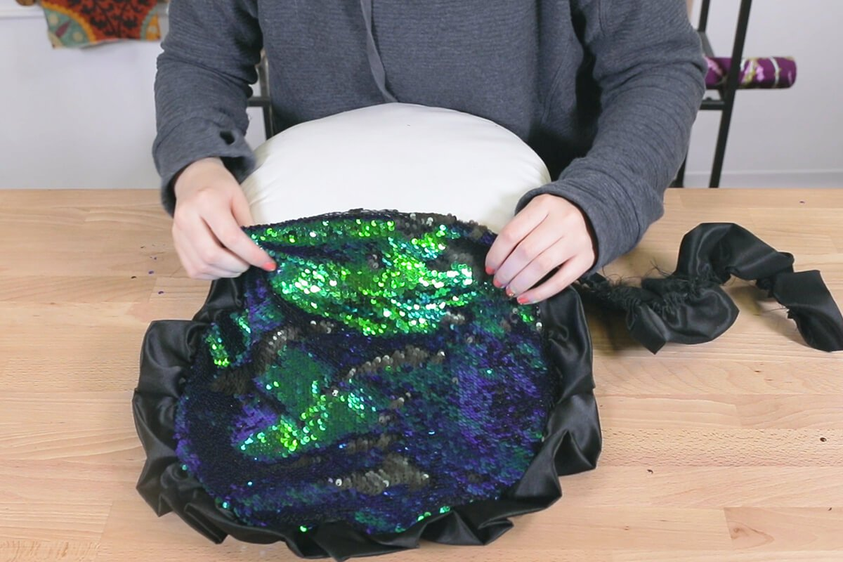 How to Make a Sequin Ruffle Pillow - Step 3