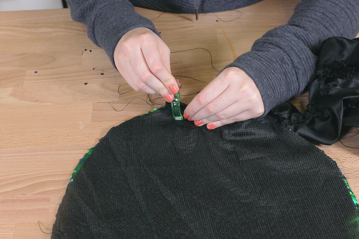 How to Make a Sequin Ruffle Pillow - Step 2
