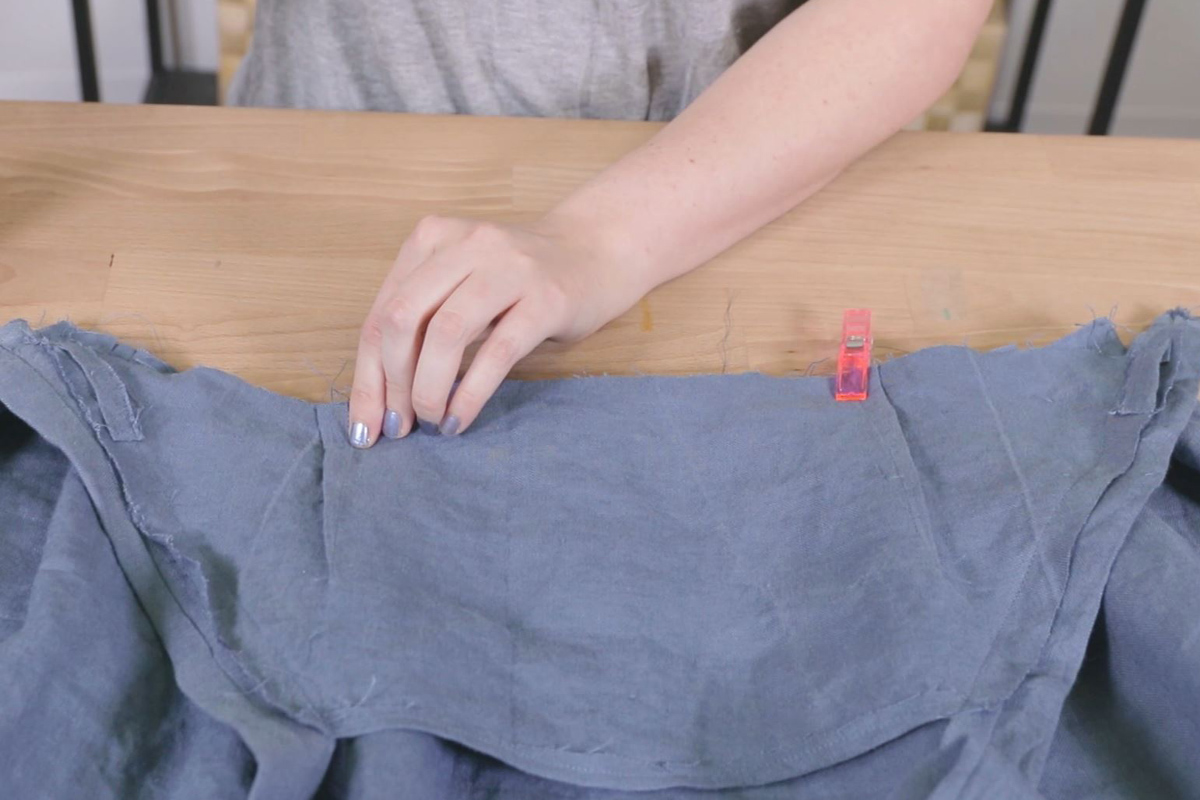 Sew together the bust and front skirt panel