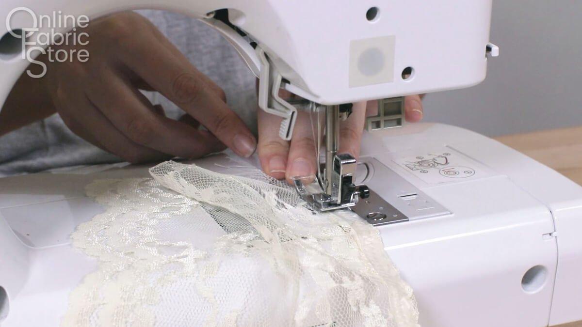 Sew with a zig zag stitch