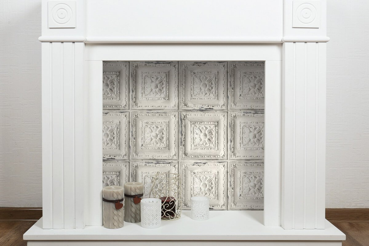 Decorative fireplace with peel & stick wallpaper