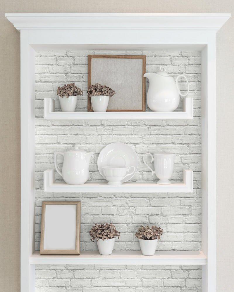 Shelves with peel & stick wallpaper