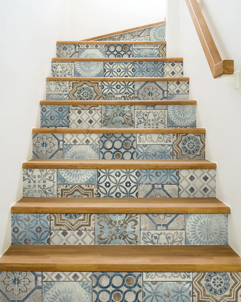 Staircase with peel & stick wallpaper