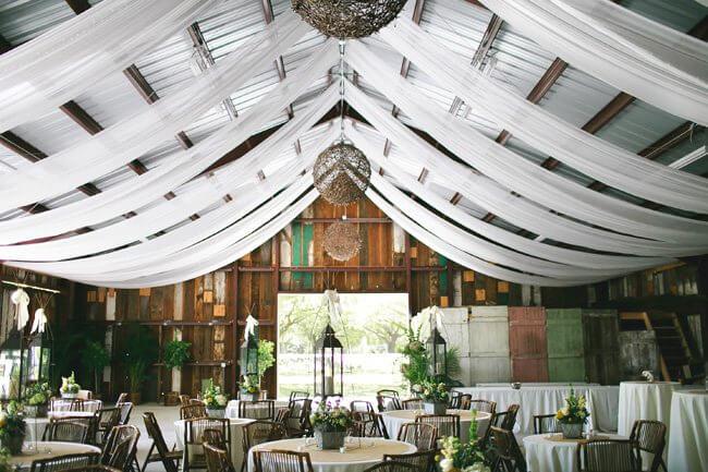 Barn Wedding with Cheesecloth